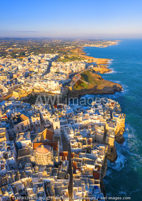 Aerial view of the nord coast of Polignano a Mare, Apulia, Italy