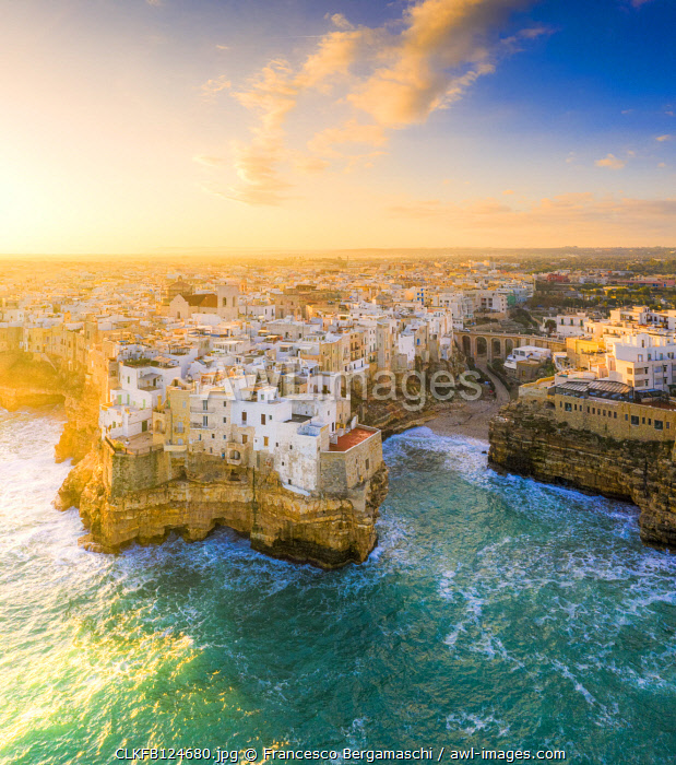 Aerial view of Polignano a Mare at sunrise. Polignano a Mare, Apulia, Italy