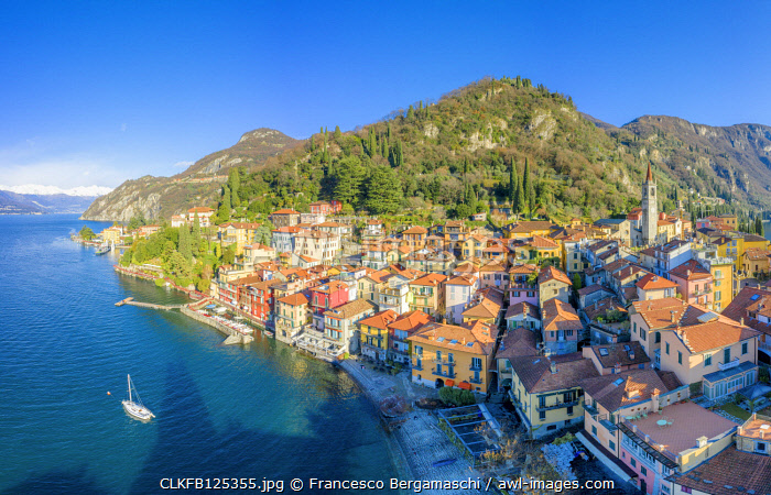 Aerial view of Varenna, Como Lake, Lombardy, Italy