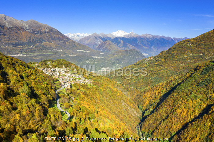 Village of Sacco in the autumn colors. Valgerola(Gerola valley), Orobie, Valtellina, Lombardy, Italy