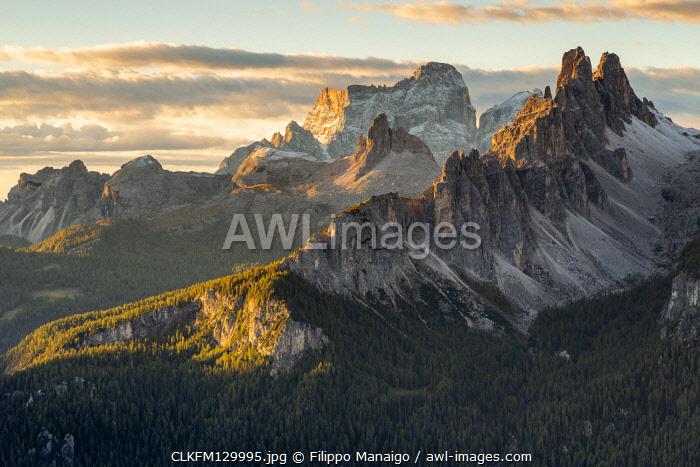 Italy,Veneto,Belluno district,Boite Valley,the sun rises over Croda da Lago,Becco di Mezzod��,Rocchette group and Pelmo in the background