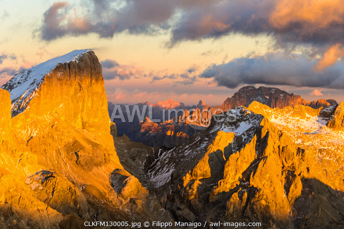 Italy,Trentino,Trento district,aerial view of Punta Penia and Mount Civetta in the background at sunset