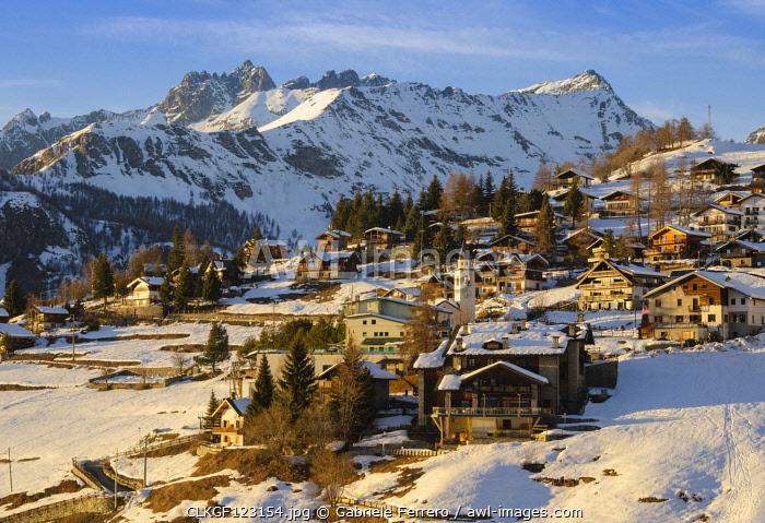 Last sunrays on Chamois, Aosta Valley, Italy