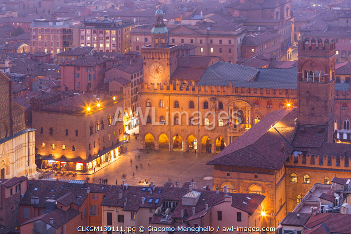 Maggiore square in Bologna old town from Asinelli tower during twilight. Bologna, Emilia Romagna, Italy