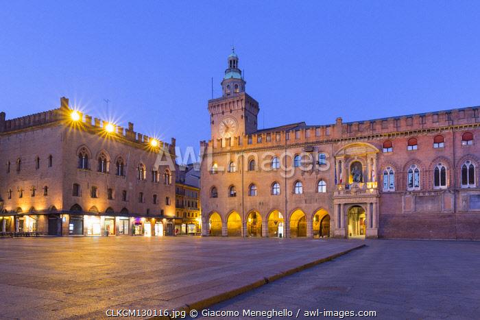 Accursio and Notai palaces in Maggiore square at twilight. Bologna, Emilia Romagna, Italy