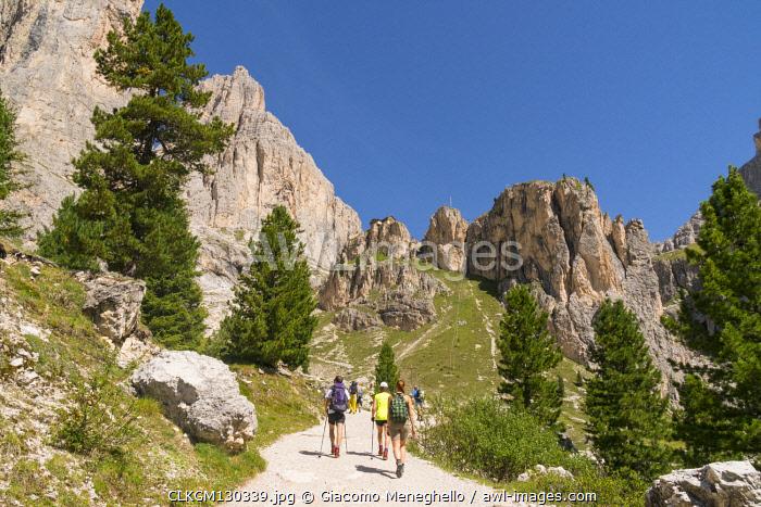 Hikers along the pathway from Gardeccia to Vajolet refuge in Catinaccio group. Gardeccia, Pozza di Fassa, Fassa valley, Trento district, Dolomites, Trentino Alto Adige, Italy