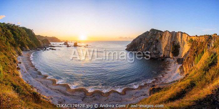 Playa del Silencio (beach of silence) at sunset. Castaneras, Asturias, Spain