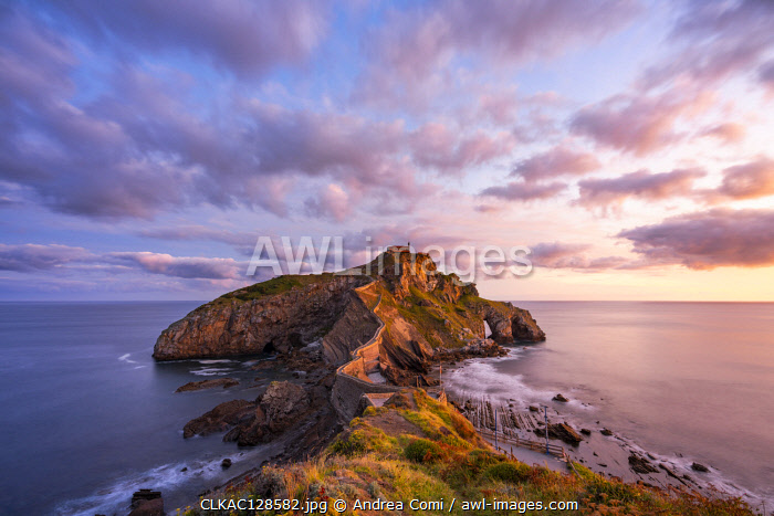 Gaztelugatxe, Biscay, Basque Country, Spain. View of the islet and the hermitage at sunrise