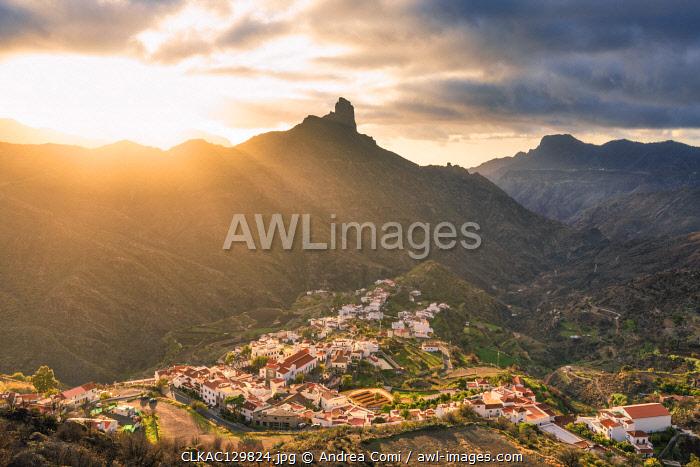 Roque Bentayga and Tejeda village at sunset. Tejeda, Las Palmas, Gran Canaria, Canary Islands, Spain