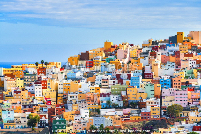 Colorful Houses at Las Palmas. Gran Canaria, Canary Islands, Spain