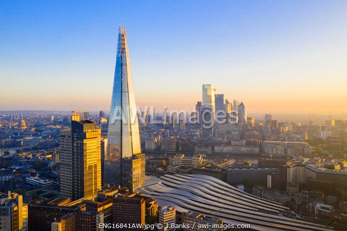 Sunsrise over the Shard and city of London, London, England, UK