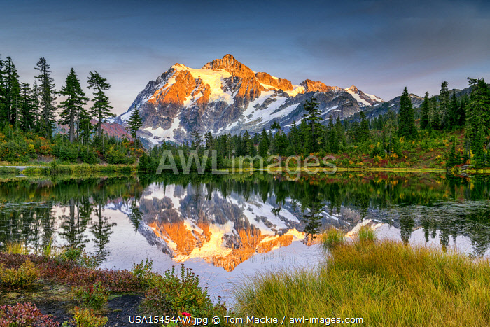 Mount Shuksan Reflecting in Picture Lake, Mt. Baker-Snoqualmie National Forest, Washington, USA