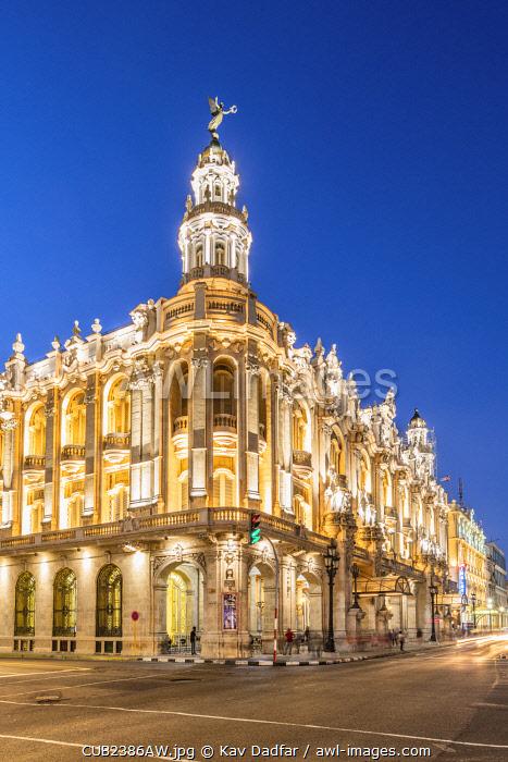 Gran Teatro de La Habana (otherwise known as Grand Theatre of Havana) at night, Centro Habana Province, Havana, Cuba