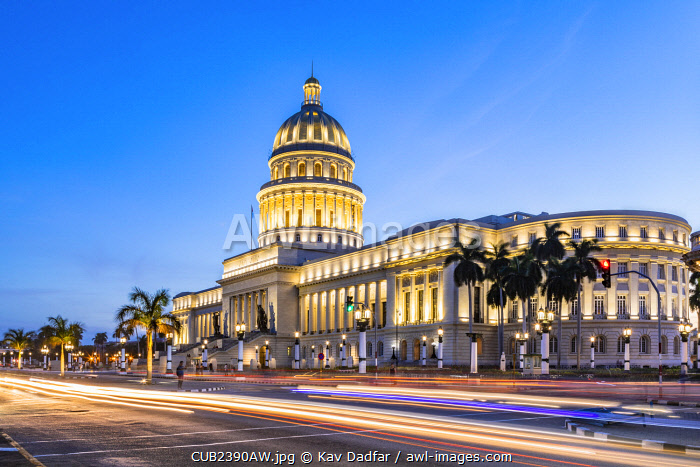 National Capitol building (El Capitolio) in the evening, Centro Habana Province, Havana, Cuba
