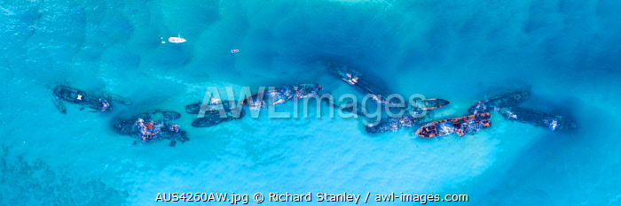 awl-images.com - Australia / Aerial image taken above the wrecks at Tangalooma. Moreton Island, South East Queensland, Queensland, Australia