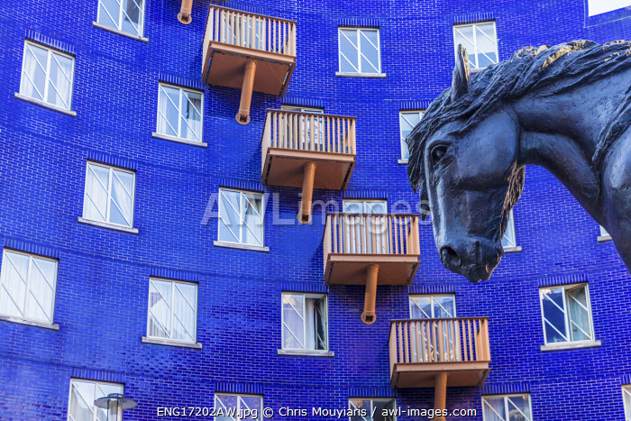 Jacob the dray horse, statue and the Circle apartments, London, England
