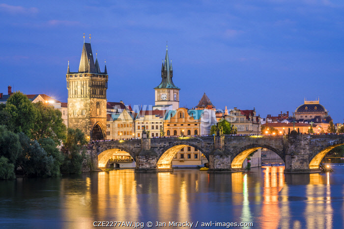 Charles Bridge and Old Town Bridge Tower at night, Prague, Bohemia, Czech Republic