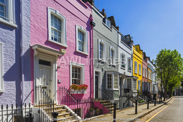 England, London, Westminster, Kensington and Chelsea, Colourful Residential Houses in Bywater Street