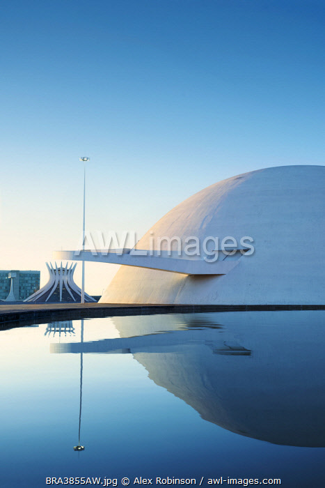 South America, Brazil, Brasilia, view of the National Museum of the Republic and the cathedra