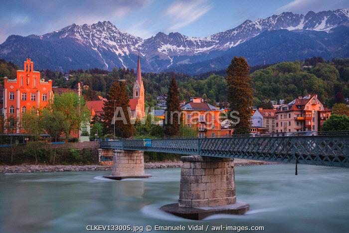 The bridge to Sankt Nikolaus district in Innsbruck at dawn, Tyrol, Austria, Europe