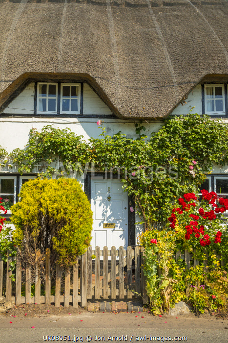 Thatched cottage, Wherwell, Hampshire, England, UK