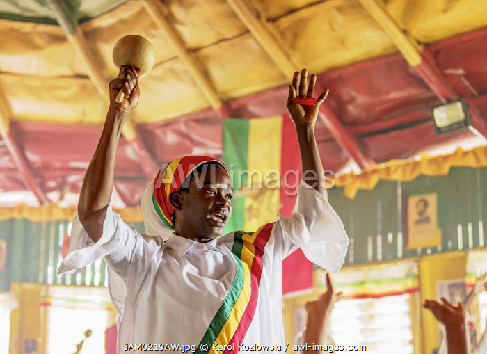 Rasta Woman dancing during Weekly Sabbath Celebration, School of Vision Temple, Rastafarian Community, Blue Mountains, Saint Andrew Parish, Jamaica