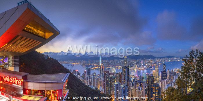 Peak Tower and skyline at dusk, Hong Kong