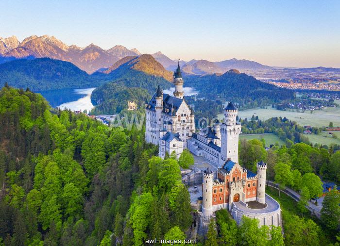 Neuschwanstein Castle, Hohenschwangau Castle, Alpsee, near Schwangau, drone shot, East Allgau, Allgau, Swabia, Bavaria, Germany, Europe