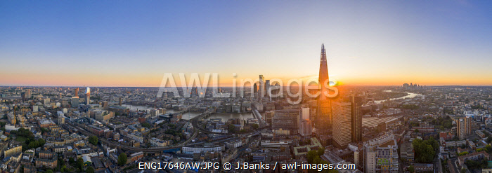 Sunsrise over the Shard and city of London, London, England, UK