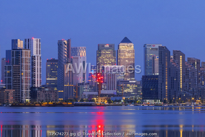 England, London, Docklands, River Thames and Canary Wharf Skyline at Night