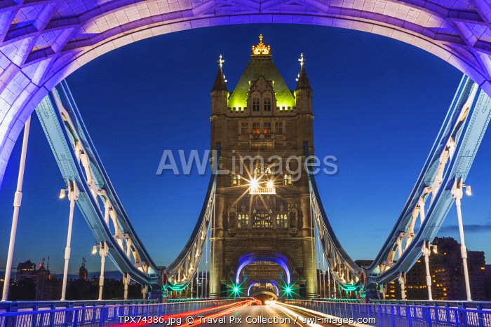 England, London, Tower Bridge with Empty Road at Night