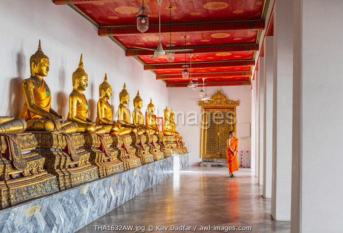awl-images.com - Thailand / Buddha statues in Wat Pho (Temple of the Reclining Buddha) with a monk in the background, Bangkok, Thailand