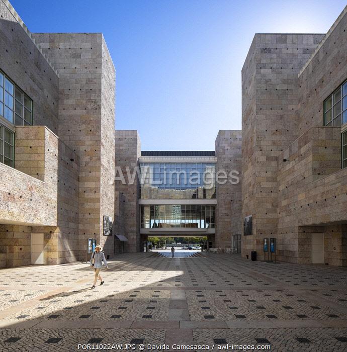 Portugal, Lisbon, Belem, A counrtyard in the Belem Cultural Centre.