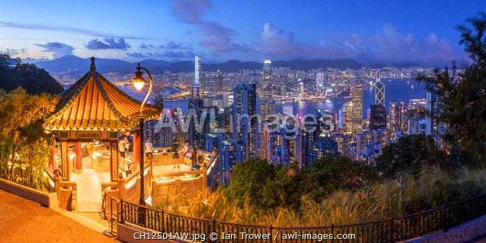 Lion Pavilion on Victoria Peak and skyline at sunset, Hong Kong