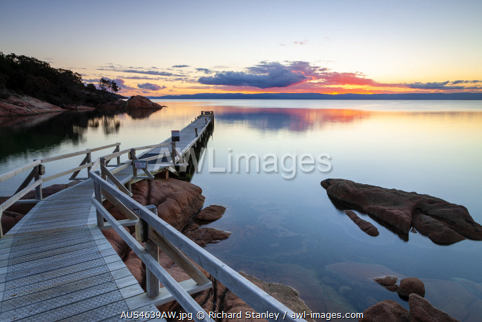 awl-images.com - Australia / Freycinet Lodge Jetty and Coles Bay. Freycinet National Park, Freycinet, Tasmania, Australia
