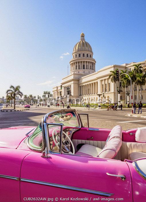 Vintage car at Paseo del Prado and El Capitolio, Havana, La Habana Province, Cuba