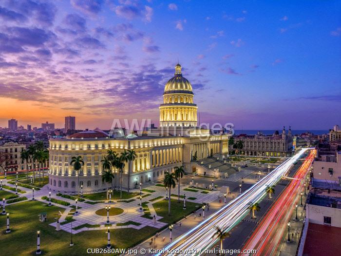 El Capitolio and Paseo del Prado at dusk, elevated view, Havana, La Habana Province, Cuba