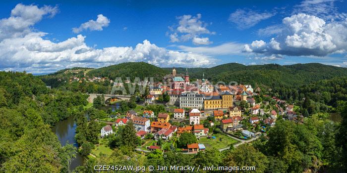 Elevated scenic view of Loket around Ohre river, Loket, Sokolov District, Karlovy Vary Region, Bohemia, Czech Republic