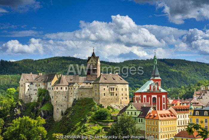 Elevated scenic view of Loket Castle and St. Wenceslas Church, Loket, Sokolov District, Karlovy Vary Region, Bohemia, Czech Republic