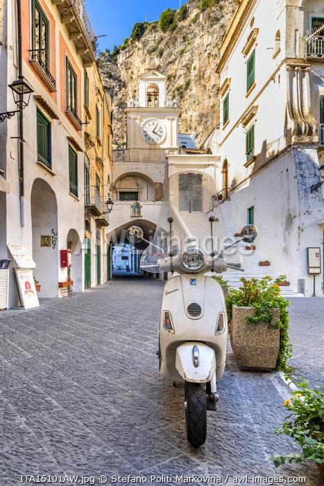 Vespa scooter parked in Atrani, Amalfi coast, Campania, Italy