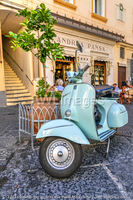 Vespa scooter parked in Amalfi, Campania, Italy