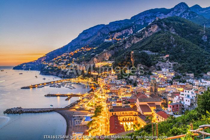 Sunset in Amalfi, Amalfi coast, Campania, Italy