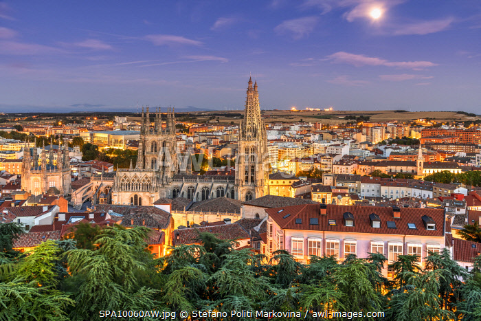 Cathedral of Saint Mary of Burgos and city skyline, Burgos, Castile and Leon, Spain