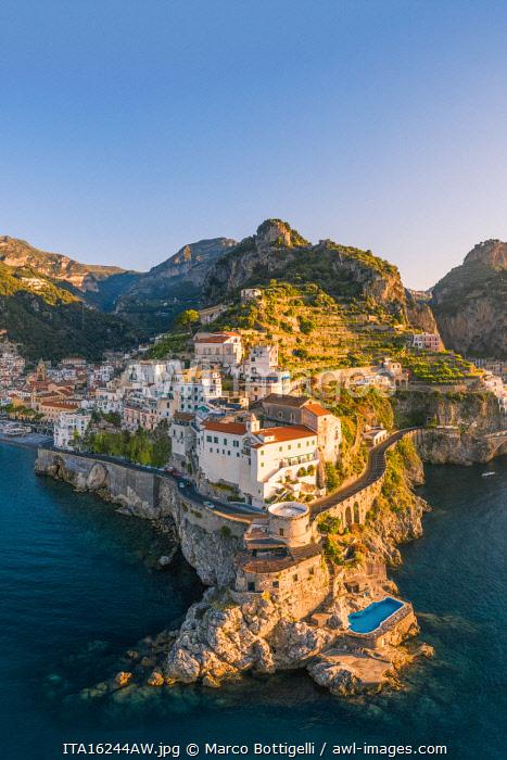 Aerial view of Amalfi, Amalfi Coast, Gulf of Salerno, Salerno province, Campania, Italy