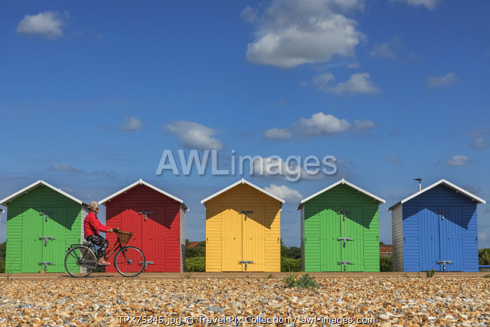 England, East Sussex, Eastbourne, Colourful Beach Huts