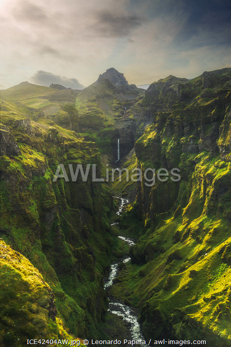 Deep valley in Vatnajokull Park Iceland.