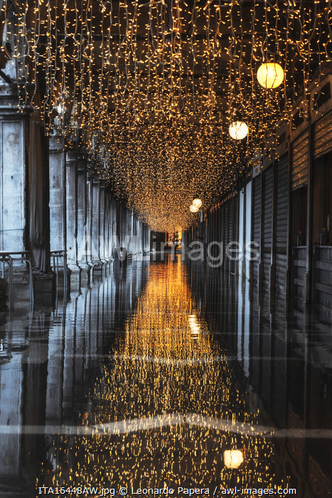 Lights at St Marks Square in December, Venice, Italy