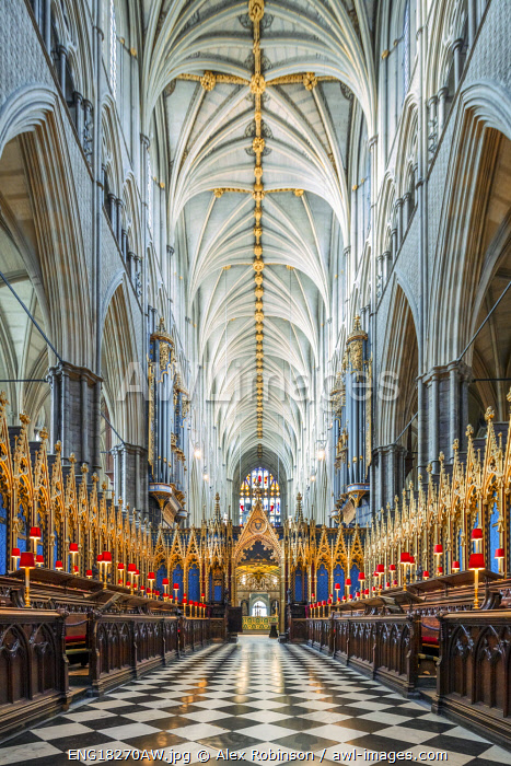 awl-images.com - England / UK, England, London, Westminster, Westminster Abbey, interior of the ancient Gothic Abbey and Unesco World Heritage Site, historic monument and Anglican church, quire of the church with Gothic vaulting