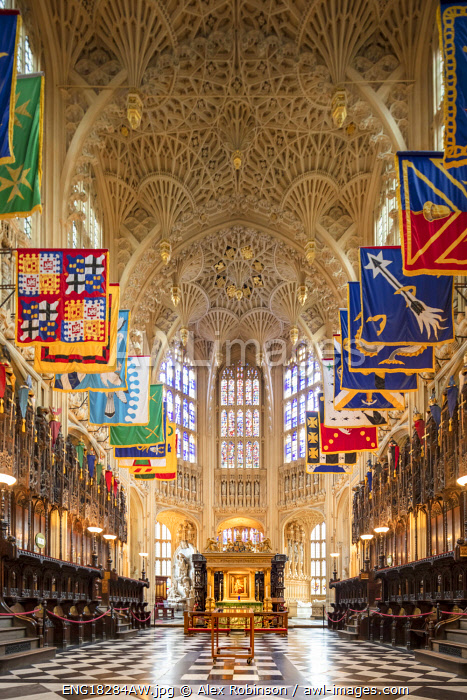 awl-images.com - England / UK, England, London, Westminster, Westminster Abbey, interior of the ancient Gothic Abbey and Unesco World Heritage Site, historic monument and Anglican church, the Henry VII lady chapel with Perpendicular gothic fan vaulting and the banners of the Order of the Bath