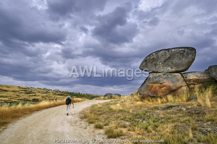 awl-images.com - Portugal / Walking on the granitic high plateau above the Douro river cliffs that make the border with Spain. Lagoaca, Douro Internacional Nature Park, Tras os Montes. Portugal (MR)